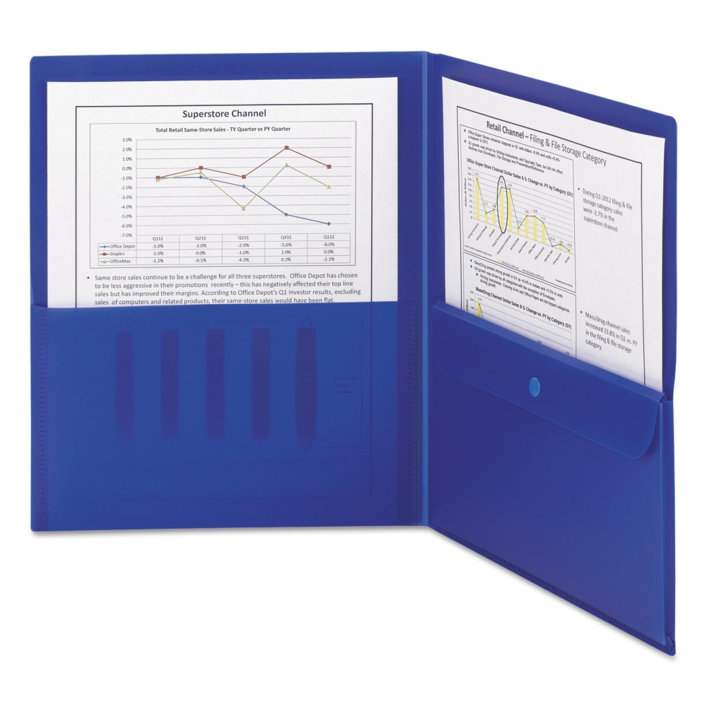 Smead 8-1/2 x 11 Poly Two Pocket Folder with Security Pocket - Blue (5 Per Pack)
