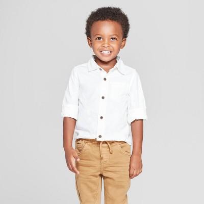 Toddler Boys' Long Sleeve Oxford Shirt - Cat & Jack™ White 2T