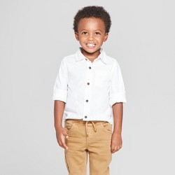 Toddler Boys' Long Sleeve Oxford Button-Down Shirt - Cat & Jack™ White