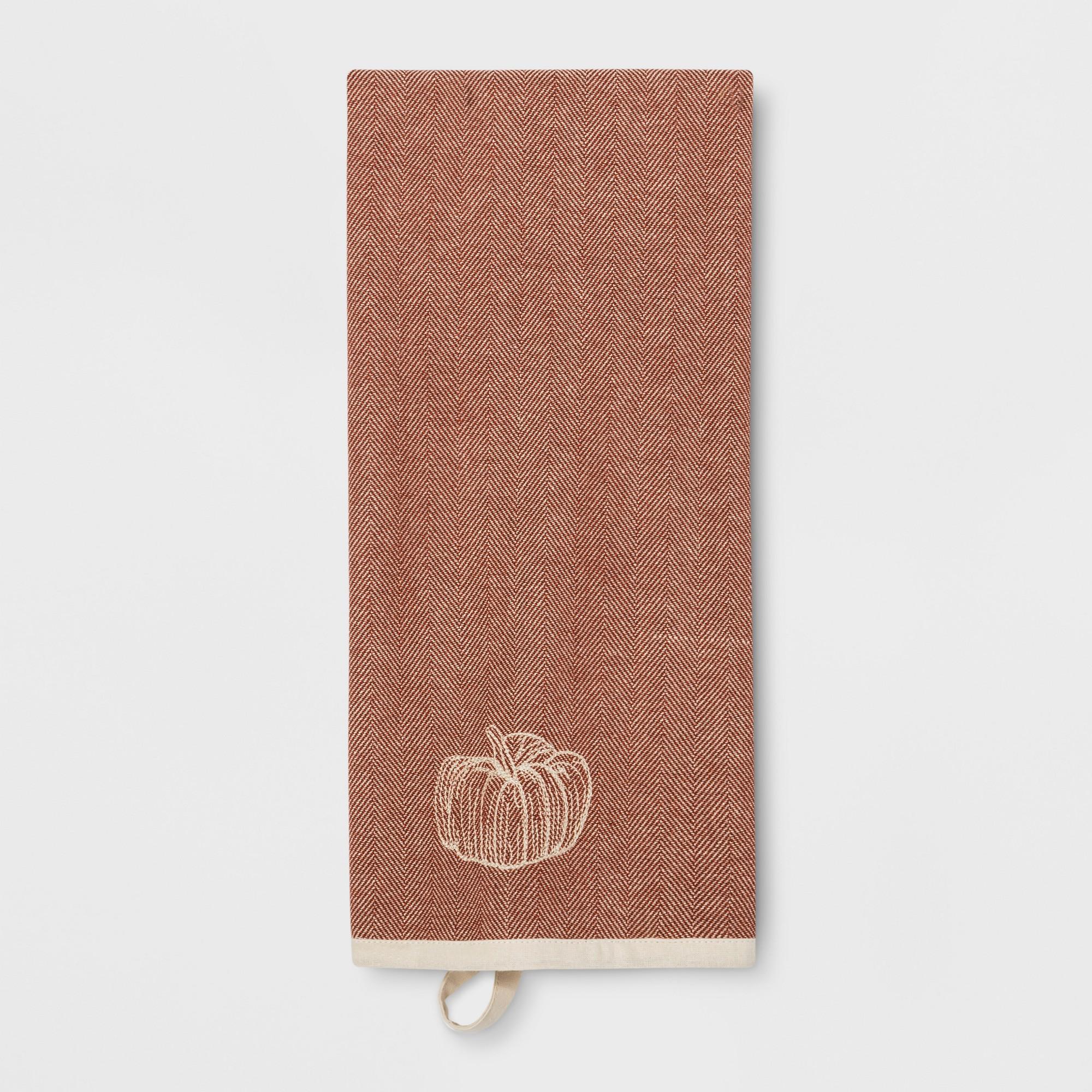 Pumpkin Kitchen Towel Brown - Threshold