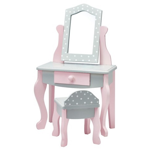 Olivia's Little World - 18 inch Doll Furniture - Vanity Table and Chair Set (Gray Polka Dots) - image 1 of 6