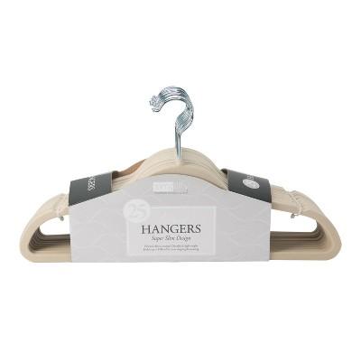 Simplify 25pk Slim Velvet Suit Hangers Ivory