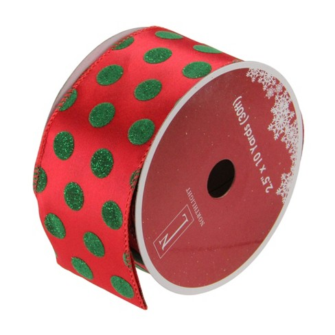 """Northlight Pack of 12 Red and Shimmering Green Polka Dot Wired Christmas Craft Ribbon Spools - 2.5"""" x 120 Yards Total - image 1 of 3"""