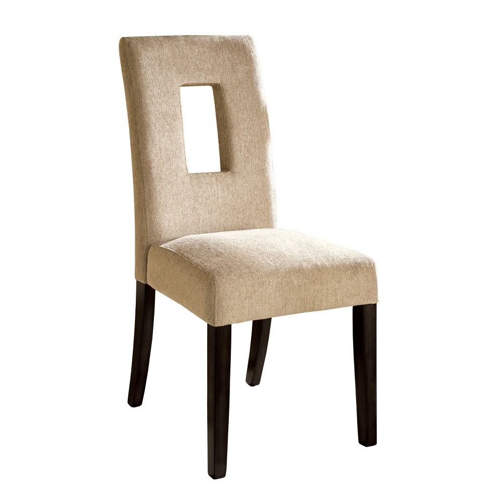 ioHomes Fabric Padded Open Rectangle Back Chair Wood/Espresso (Set of 2)