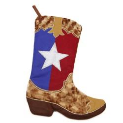 "Northlight 18.5"" Shadow Velveteen Texas Flag Cowboy Boot Christmas Stocking"
