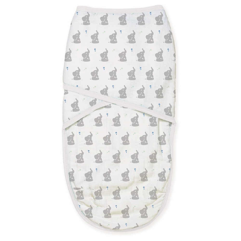 Aden by Aden + Anais Easy Swaddle - Baby Star - L, Gray Elephants