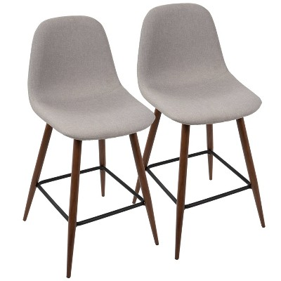 Set of 2 Pebble Mid-Century Modern Counter Height Barstools - LumiSource