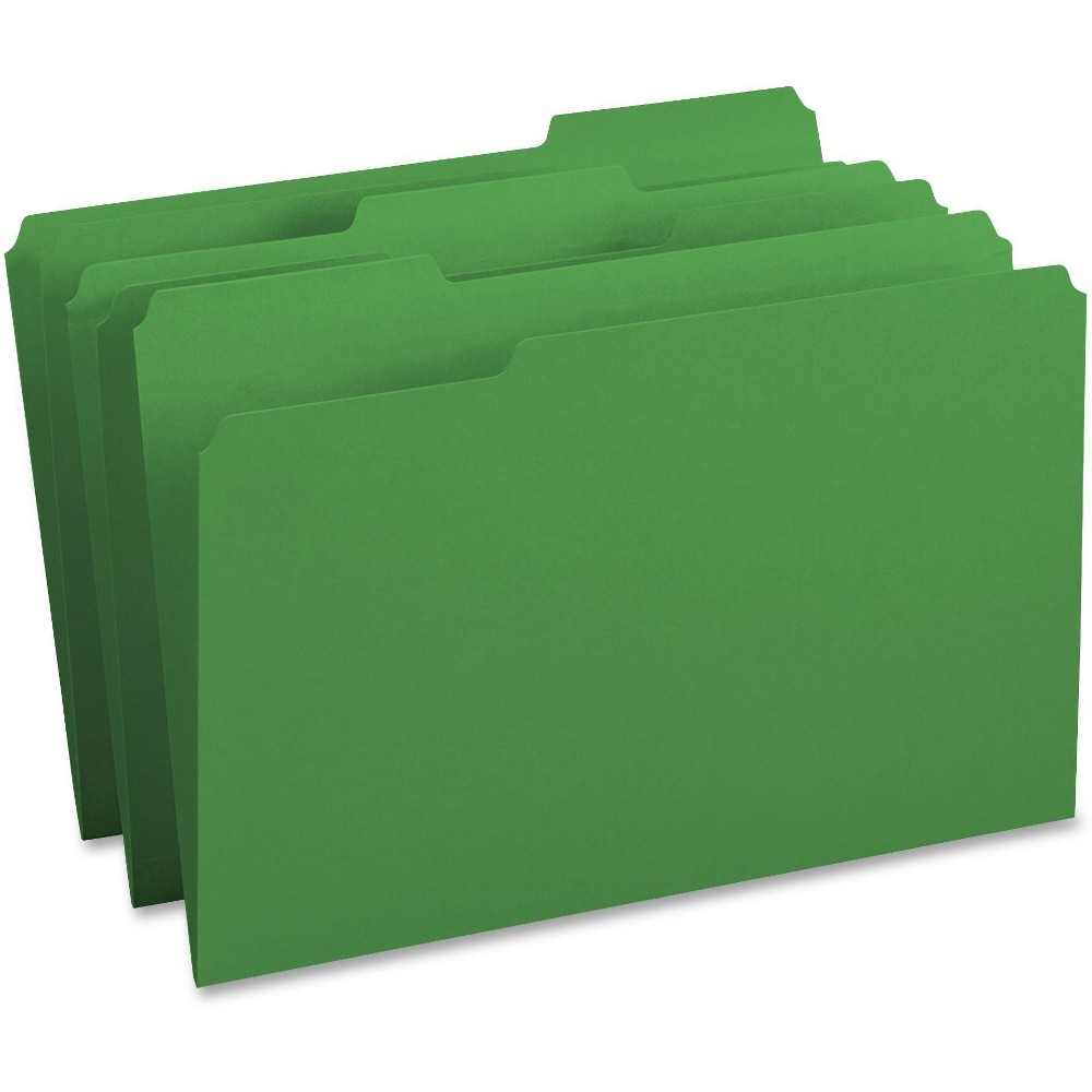 Image of Business Source 100ct 1/3-Cut Tab Legal Colored File 2 Pocket Paper Folders - Green