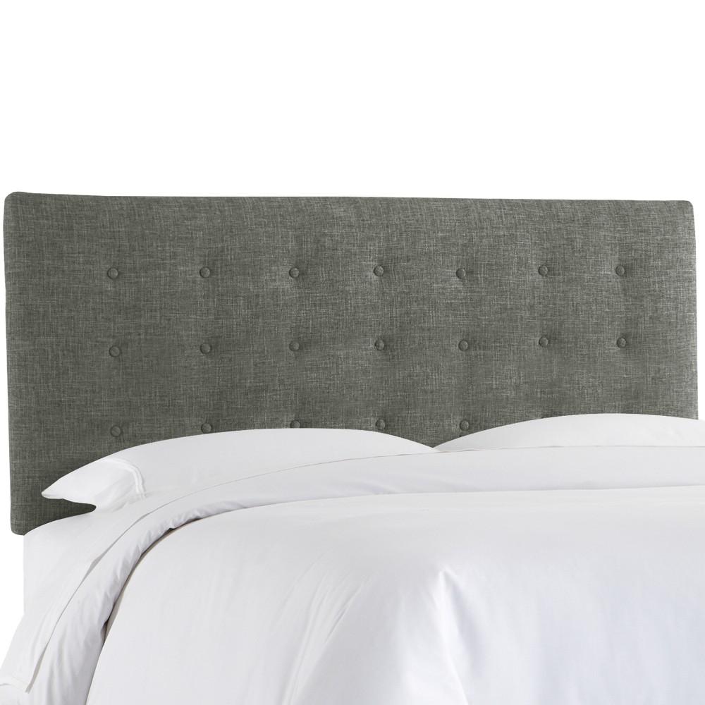 Upholstered Button Headboard Queen Zuma Charcoal - Skyline Furniture