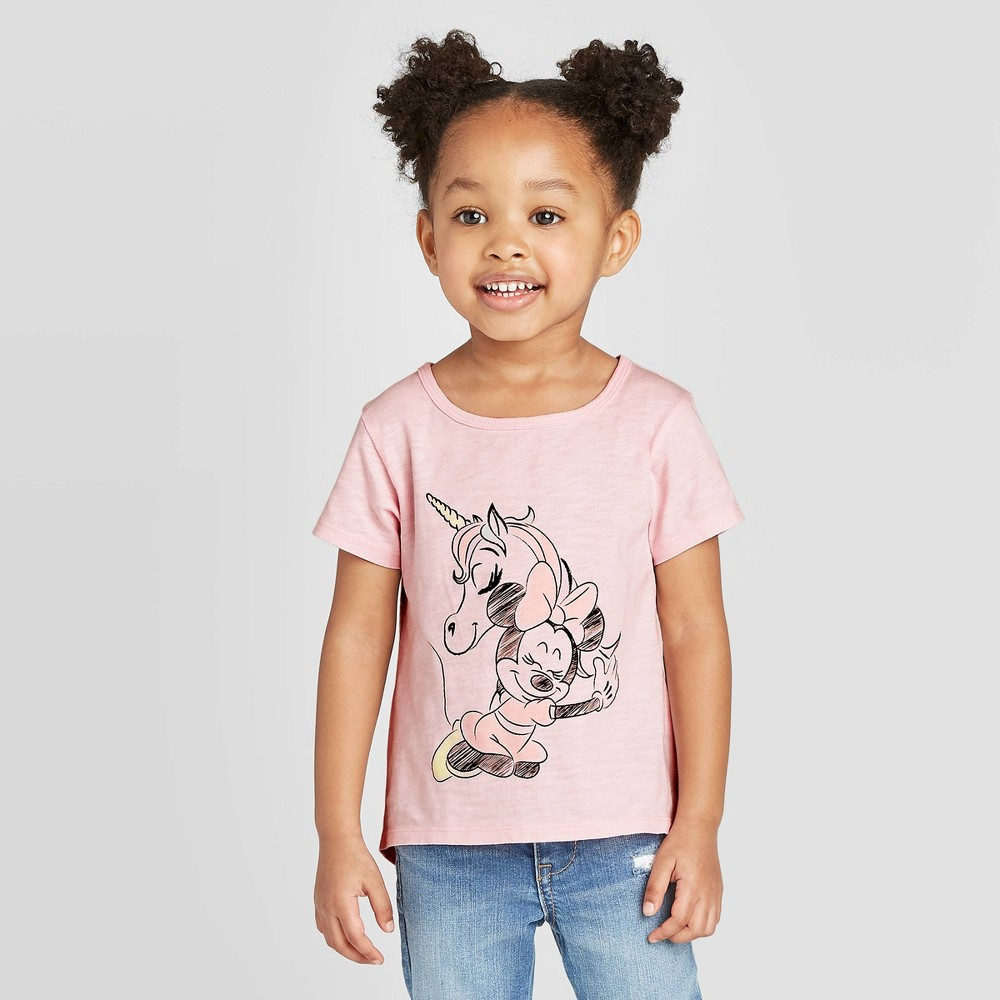 Toddler Girls 39 Disney Minnie Mouse Unicorn Graphic T Shirt Pink 3t