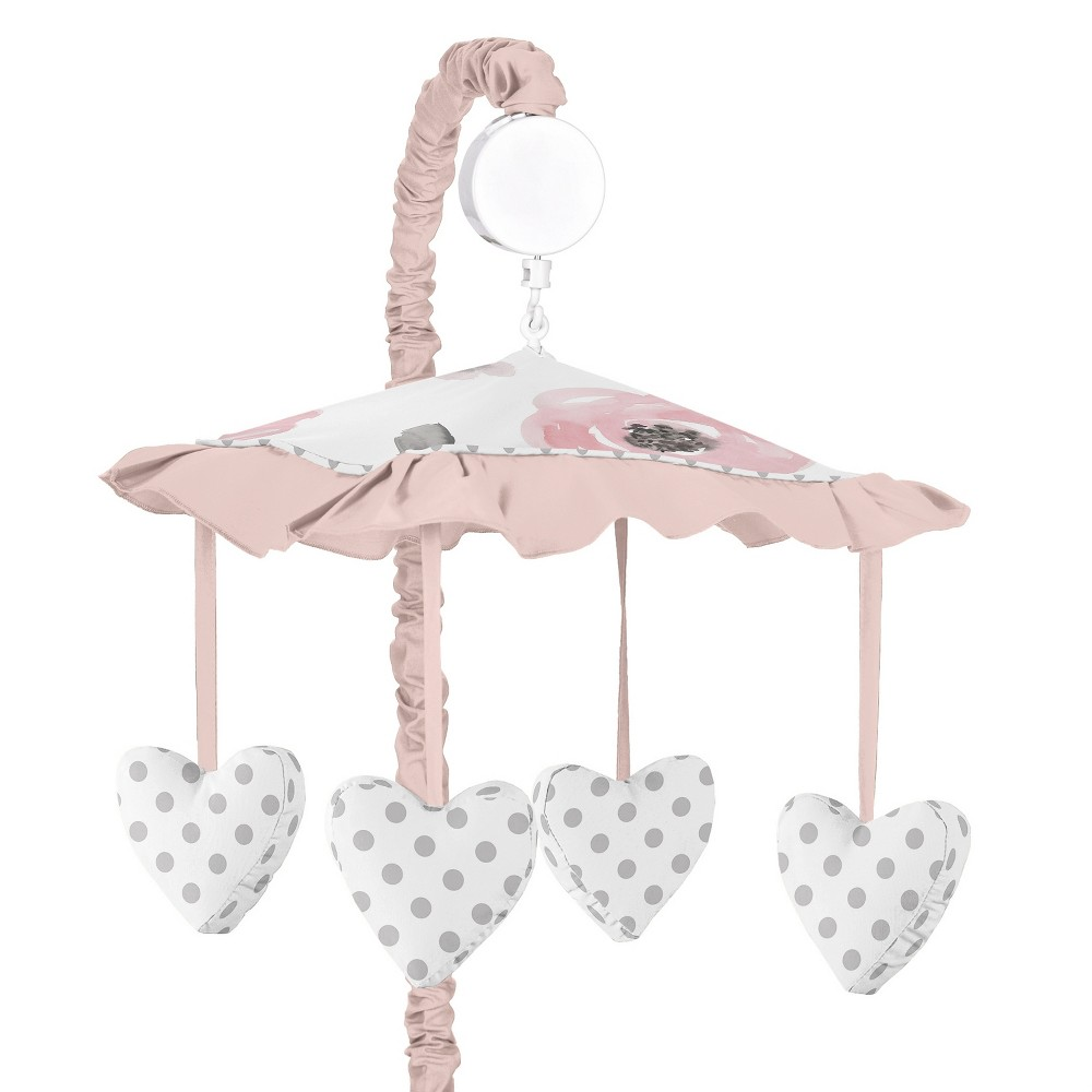 Sweet Jojo Designs Musical Mobile - Watercolor Floral - Pink/Gray