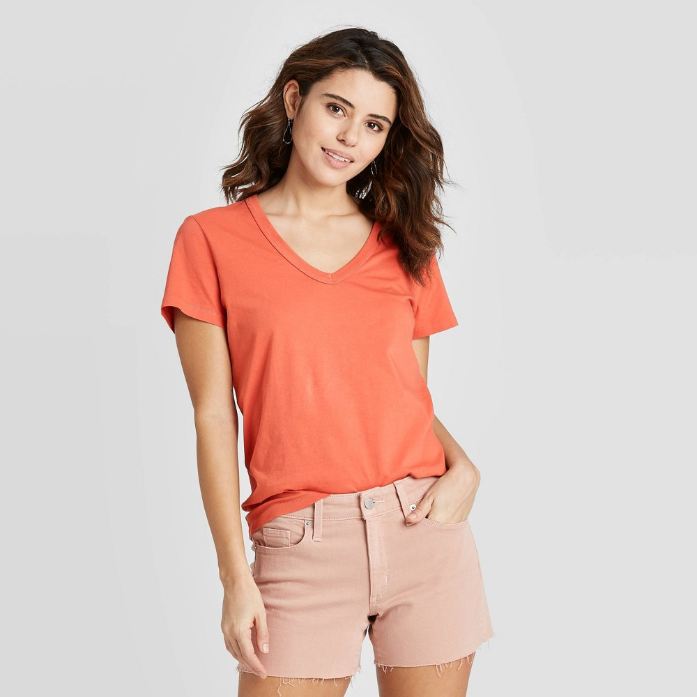 Women's Short Sleeve V-Neck T-Shirt - Universal Thread Rust M, Red was $8.0 now $5.6 (30.0% off)