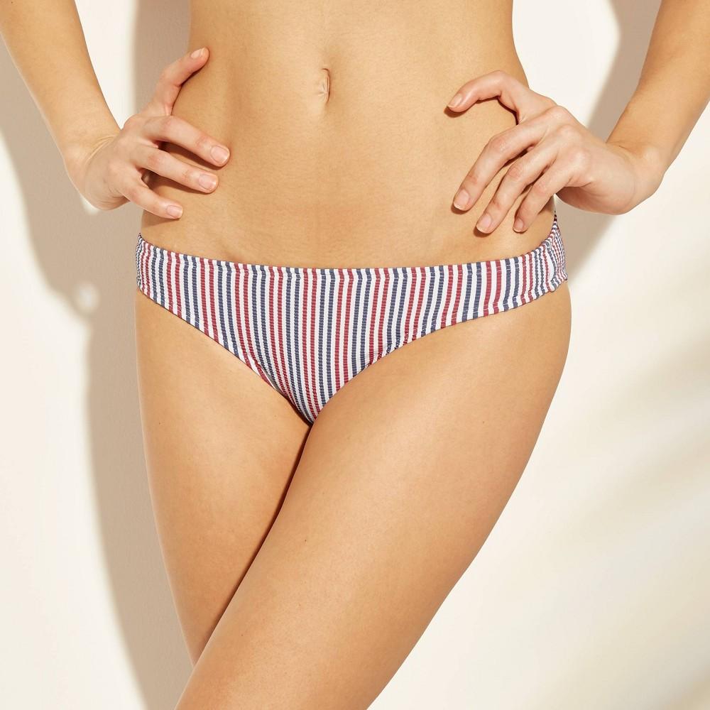27e5a15cc Womens Seersucker Hipster Bikini Bottom Xhilaration BlueRed Stripe XS