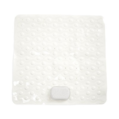 Lakeside Shower Mat with Pumice Stone - Non Slip Bath Mat w Suction - Clear Ivory