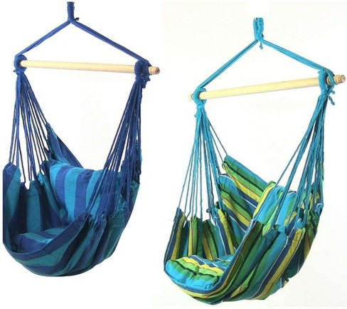 2 Hammock Chair Swings with Pillows - Ocean Breeze/Oasis - Sunnydaze Decor - image 1 of 5