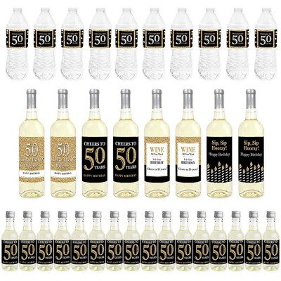 Big Dot of Happiness Adult 50th Birthday - Gold - Birthday Party Decorations - Beverage Bar Kit - 34 Pieces