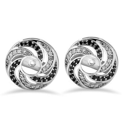 Pompeii3 1/2ct 14K White Gold Black & White Diamond Spiral Earring Jackets (up to 4mm)