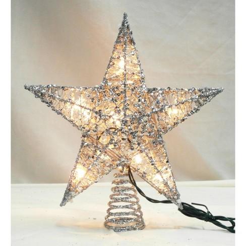 Northlight 12 Lighted Glittering Silver Star Christmas Tree Topper