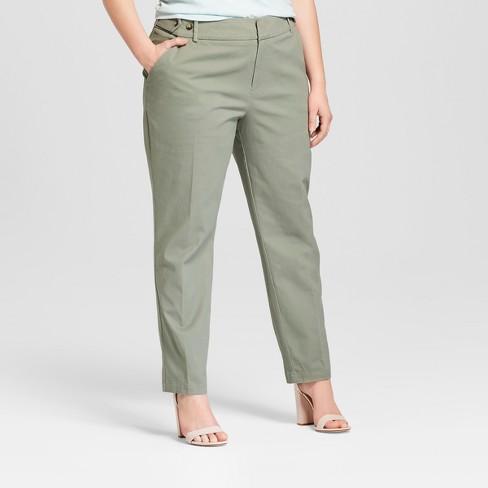 8b2de8c5e4c Women s Plus Size Boyfriend Chino Pants - Ava   Viv™ Green 18W   Target