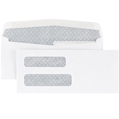 """MyOfficeInnovations #8 5/8"""" Check-Size Double Window Security-Tint Gummed Envelopes 500/BX 438614"""