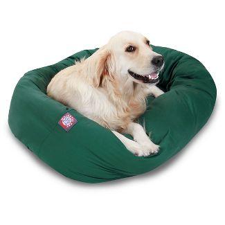 "Majestic Pet Sherpa Bagel Dog Bed - Green - L - 40"""