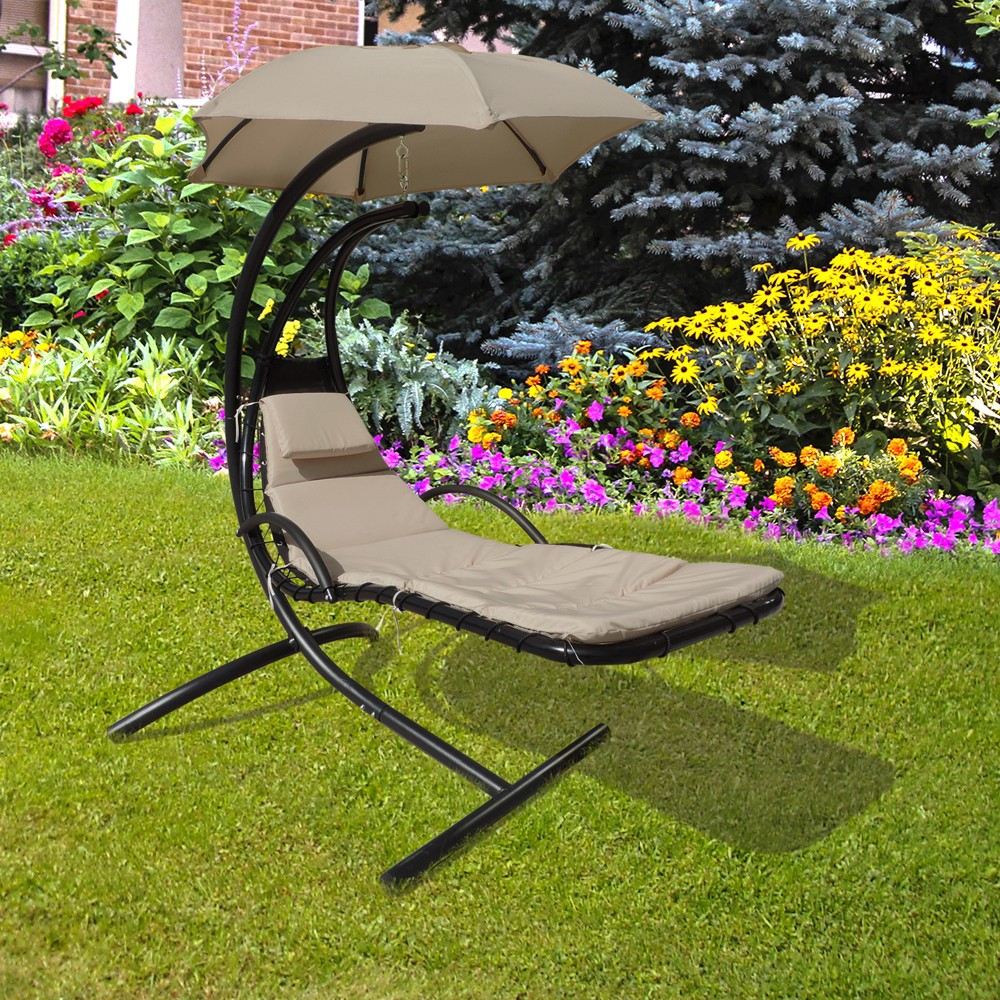 Image of Island Retreat Hanging Lounge With Shade Canopy - Khaki - Island Umbrella