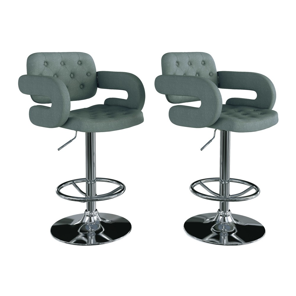 Adjustable Tufted Fabric Barstool with Armrests, Set of 2 Blue Grey - CorLiving, Blue Gray