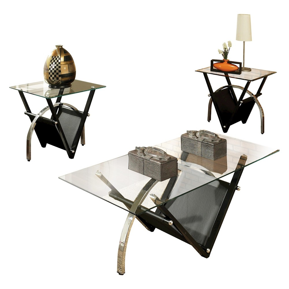 Trent Occasional Table Set - Glass/Metal - Steve Silver, Black