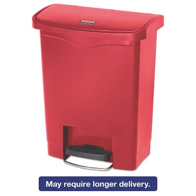 Rubbermaid Commercial Slim Jim Resin Step-On Container Front Step Style 8 gal Red 1883564