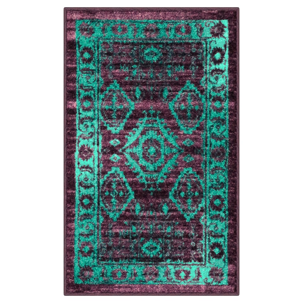 Tribal Design Tufted Accent Rug Purple