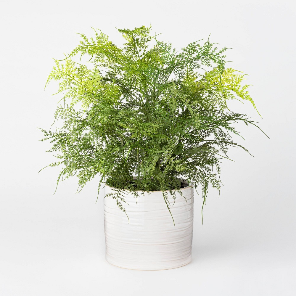 "Image of ""21"""" x 10"""" Artificial Fern Plant in Pot Green/White - Threshold designed with Studio McGee"""