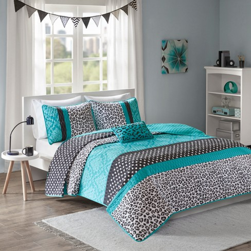 Christa Animal Print Quilted Coverlet Set - Teal - image 1 of 7