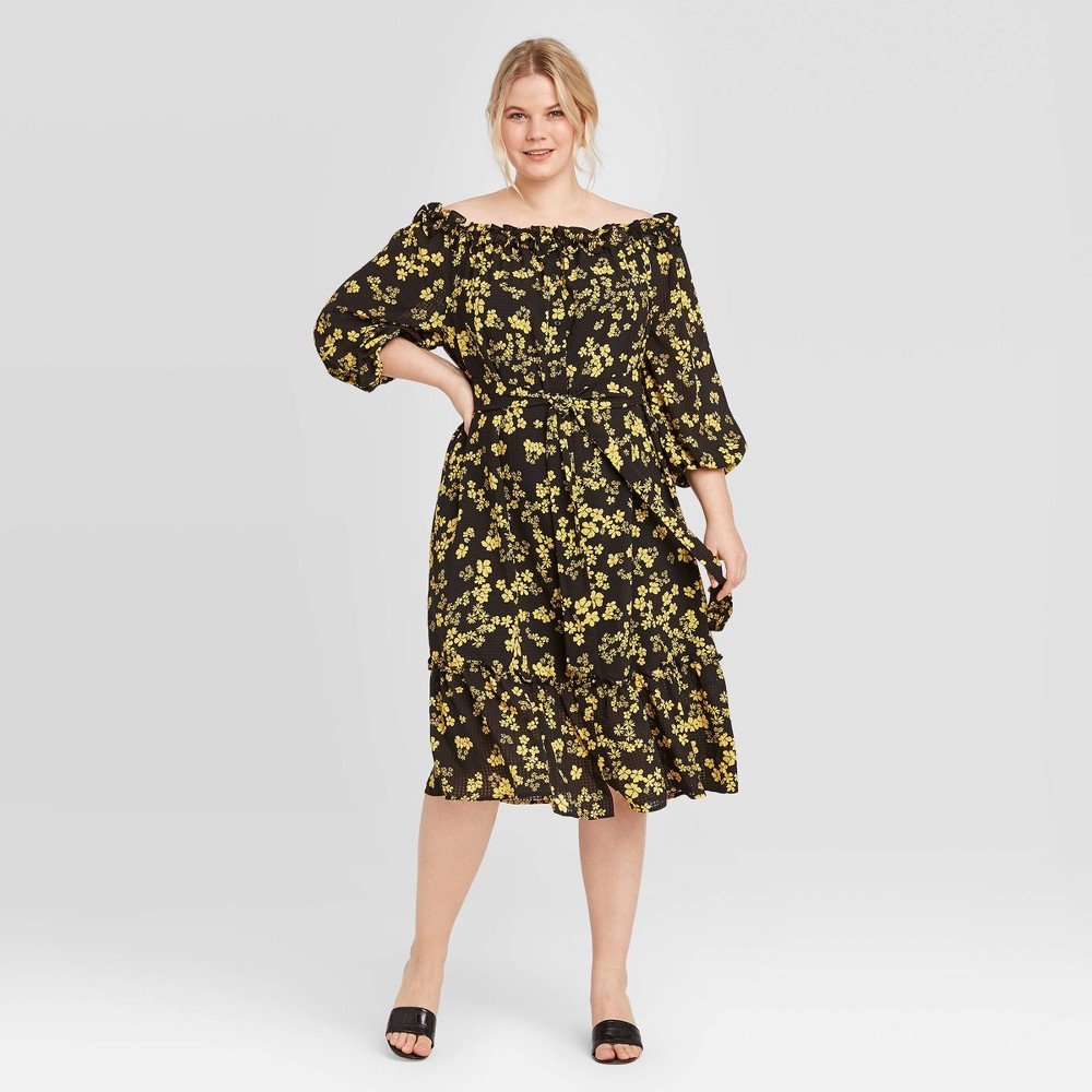 Women's Plus Size Floral Print Long Sleeve Dress - Who What Wear Black 2X was $29.99 now $20.99 (30.0% off)