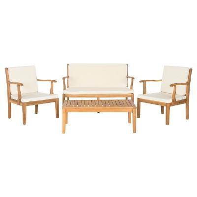 Del Mar 4pc Acacia Wood Patio Conversation Set - Brown - Safavieh