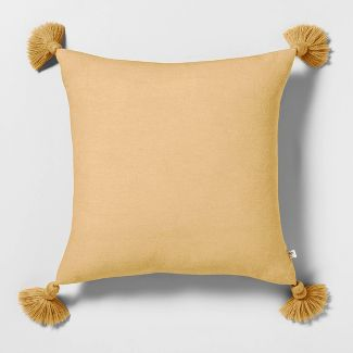 Throw Pillow Yellow with Tassels - Hearth & Hand™ with Magnolia