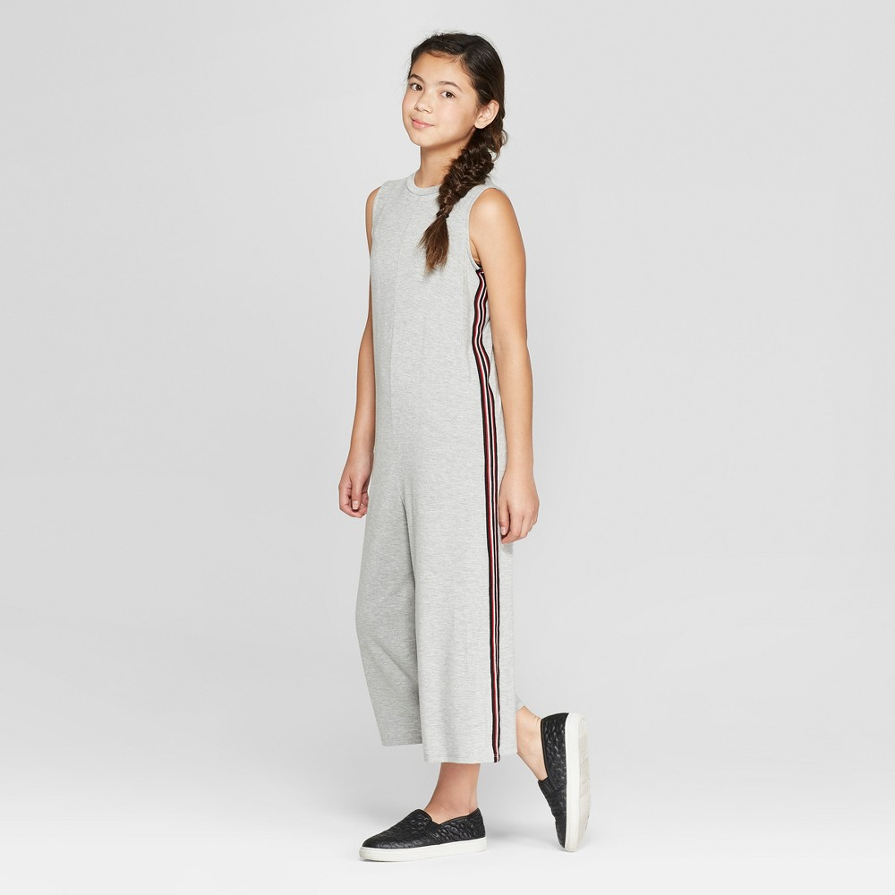 Girls' Jumpsuit with Side Taping - art class Heather Gray XS