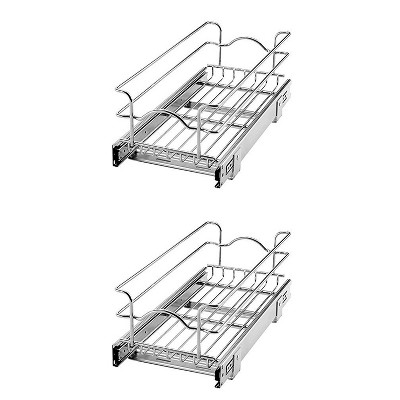Rev A Shelf 5WB1-0918-CR 9 x 18 Inch Kitchen Cabinet Pull Out Basket (2 Pack)