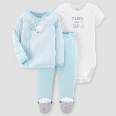 Baby Boys' 3pc Side Snap Tee Layette Set - Just One You® made by carter's Blue Sheep 3M