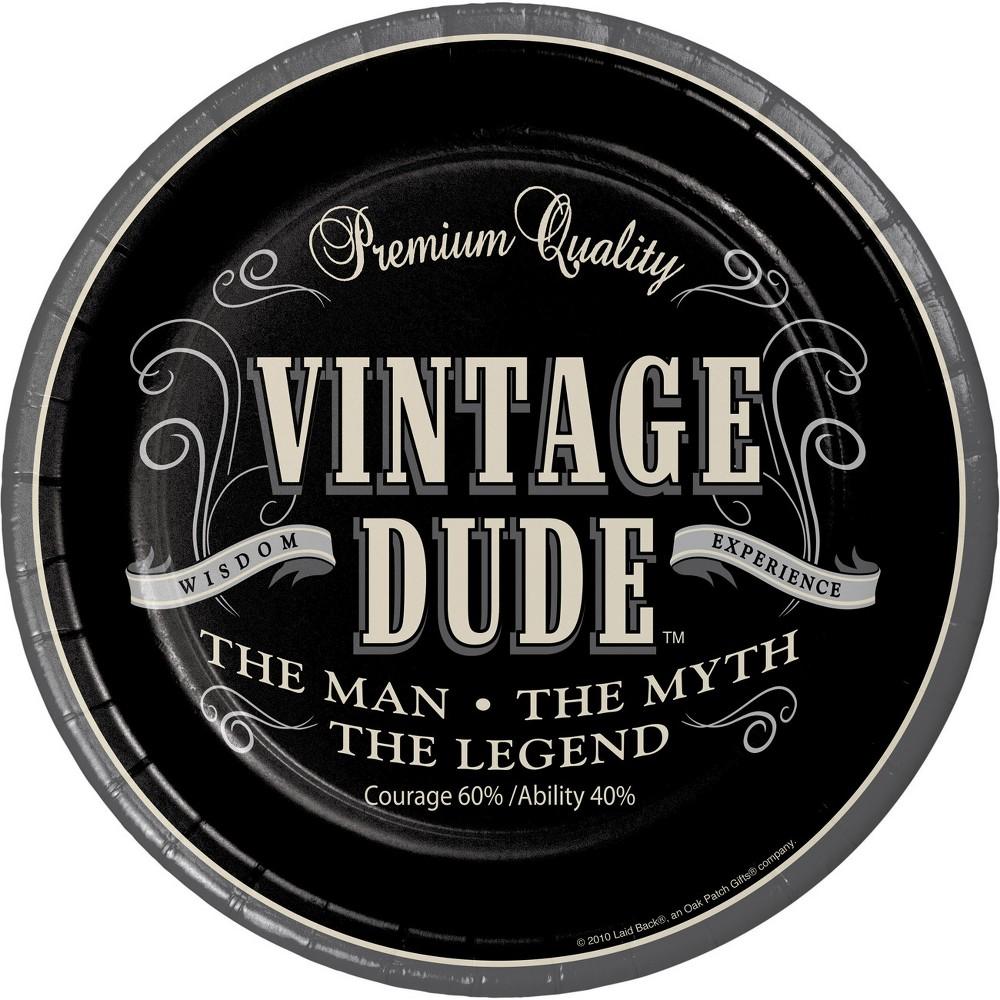 24ct Vintage Dude Paper Plates Black