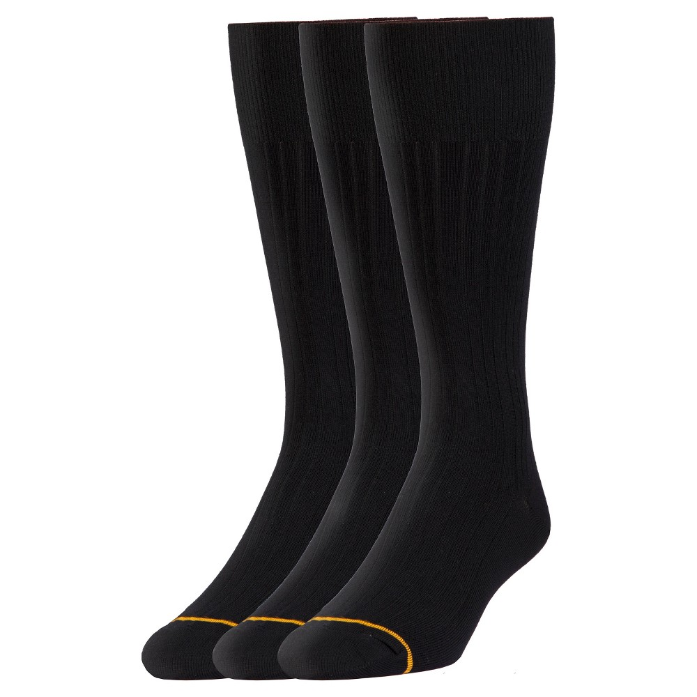 Signature Gold by Goldtoe Men's 3pk Relaxed Cushion Dress Socks - Black 6-12, Multi-Colored