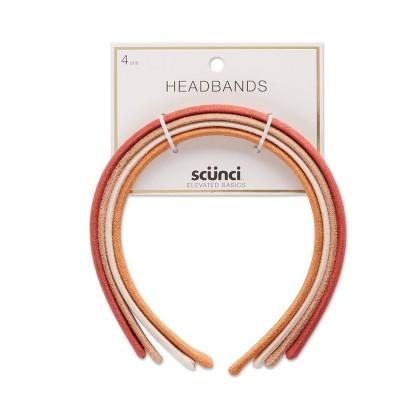 scunci Basics Headband - Suede/Rust/Ivory/Tan - 4pk