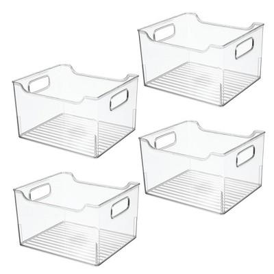 mDesign Plastic Bathroom Vanity Storage Organizer Bin, Handles, 4 Pack