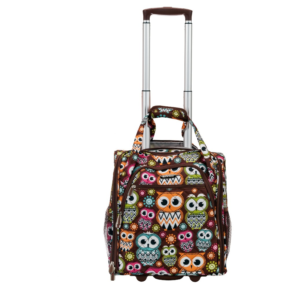"""Image of """"Rockland 15"""""""" Rolling Underseat Carry On Suitcase - Owl, Owl Brown"""""""