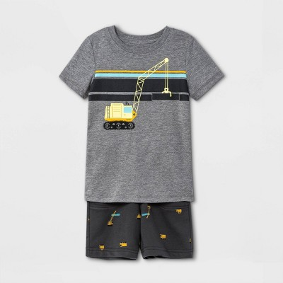 Toddler Boys' 2pc Construction Striped Short Sleeve Graphic T-Shirt and French Terry Shorts Set - Cat & Jack™ Charcoal Gray