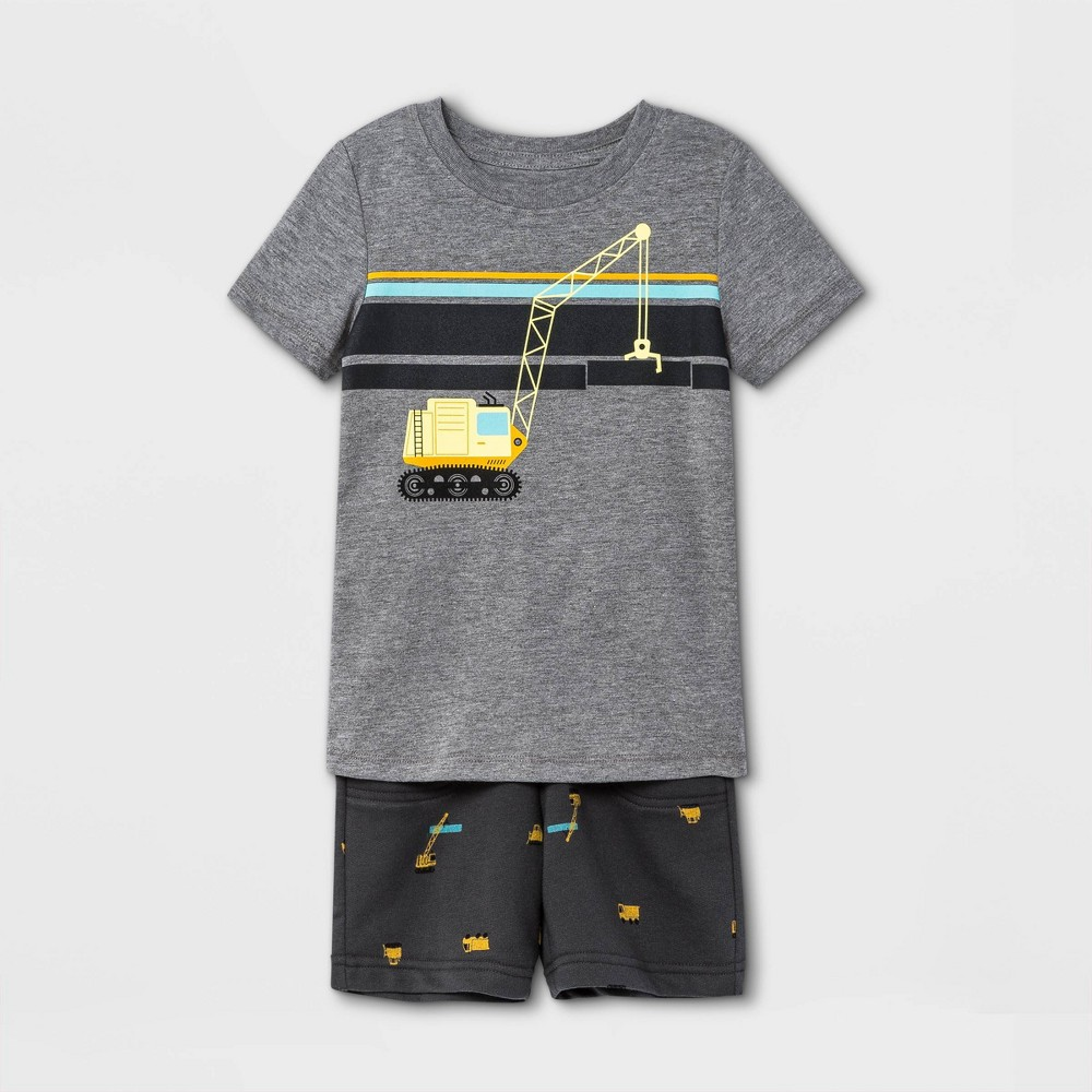 Toddler Boys 39 2pc Construction Striped Short Sleeve Graphic T Shirt And French Terry Shorts Set Cat 38 Jack 8482 Charcoal Gray 4t