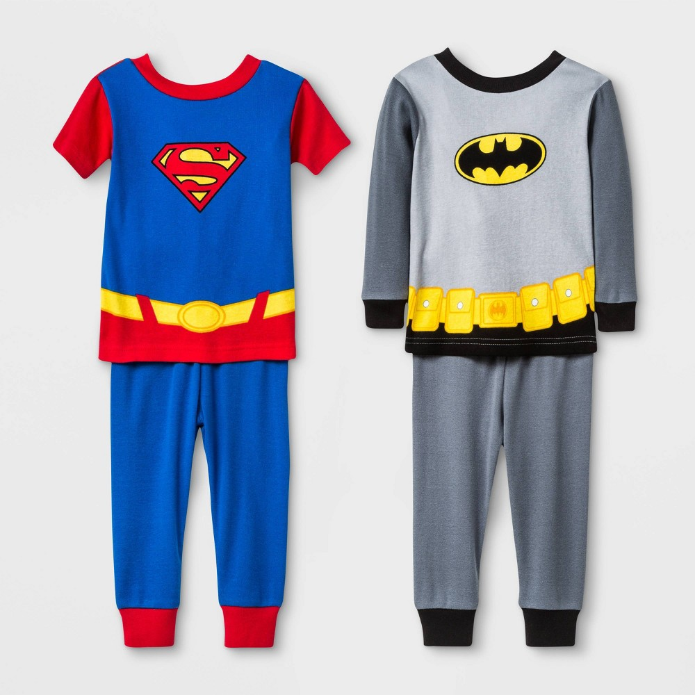 Image of Baby Boys' 4pc Justice League Pajama Set - Gray/Blue 12M, Boy's, Blue/Gray