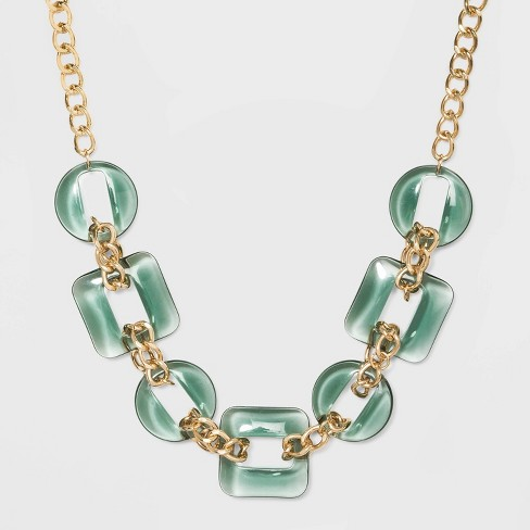 Clear Acrylic Necklace - A New Day™ Green/Gold - image 1 of 2