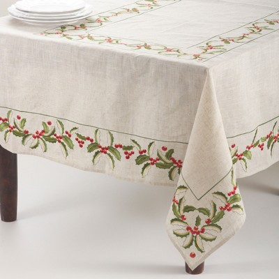 Saro Lifestyle Embroidered Holly Design Holiday Linen Blend Tablecloth