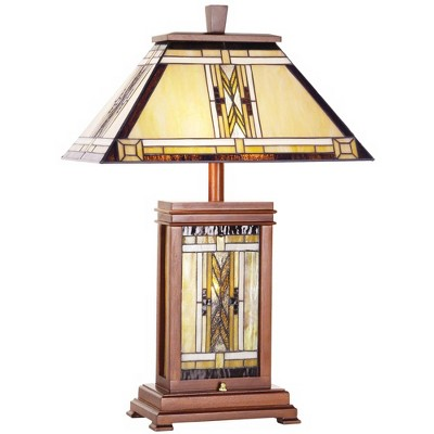 Robert Louis Tiffany Mission Rustic Table Lamp with Nightlight Walnut Wood Stained Art Glass Shade for Living Room Bedroom Office