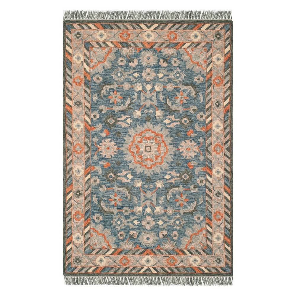 3'X5' Medallion Tufted Accent Rug Blue/Rust - Safavieh, Blue Red